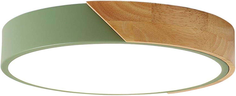 LED Deckenleuchte Dimmbar Moderne Runde mit Fernbedienung Acryl und Holz für Babyzimmer Teen Wohnzimmer Esszimmer Grün 40cm 24W