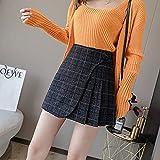 CIDCIJN Mini Jupe Crayon Femme, Plaid Skirt Shorts Femmes Winter Pleated Skirt Korean Fashion Irregular A Line High Waisted Jupe Package Hip Skirts,Black,L
