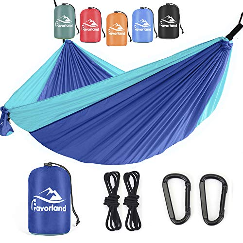 Favorland Camping Hammock Double & Single with Tree Straps for Hiking, Backpacking, Beach, Yard - 2 Persons Outdoor Indoor Lightweight & Portable with Straps & Steel Carabiners Nylon(Blue)