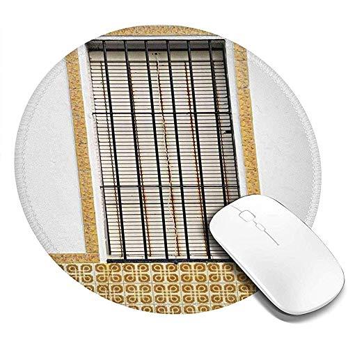 Ronde muismat, afbeelding van modern Spaans raam en luiken met mozaïek patronen Urban City Life,Non-lip Gaming Mouse Mat