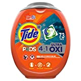 Tide PODS 4 in 1 Ultra Oxi Liquid Laundry Detergent Pacs, High Efficiency (HE), 73 Count