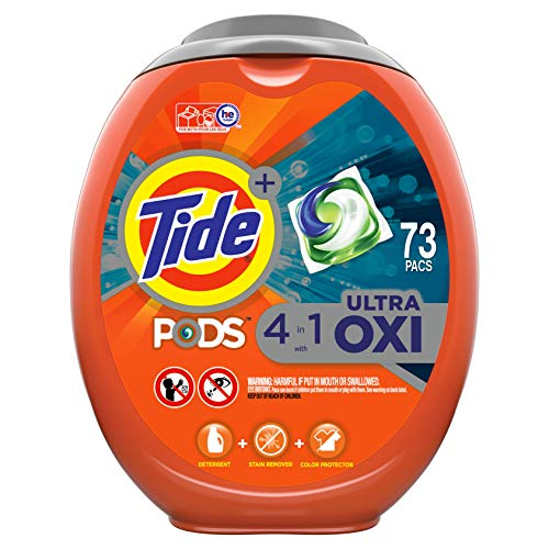 Tide Pods Ultra Oxi Liquid Laundry Detergent Pacs, 73 Count, Packaging May...