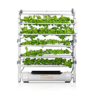 OPCOM Farm GrowWall - 75 Pot Vertical Hydroponic Growing System - All Year Round Indoor Farming - Height and Angle Adjustable LED Lights with Starter Kit Included