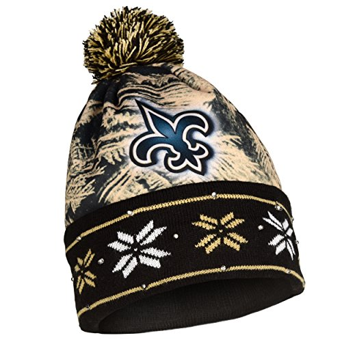 FOCO NFL New Orleans Saints Big Logo Light Up Printed Beanie, Team Color, One Size