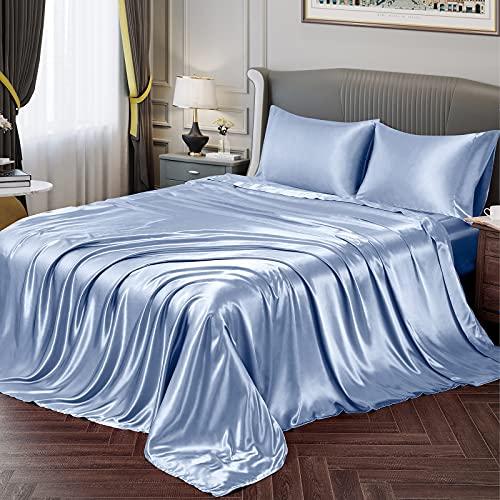 Vonty Satin Sheets Queen Size Silky Soft Satin Bed Sheets Baby Blue Satin Sheet Set, 1 Deep Pocket Fitted Sheet + 1 Flat Sheet + 2 Pillowcases