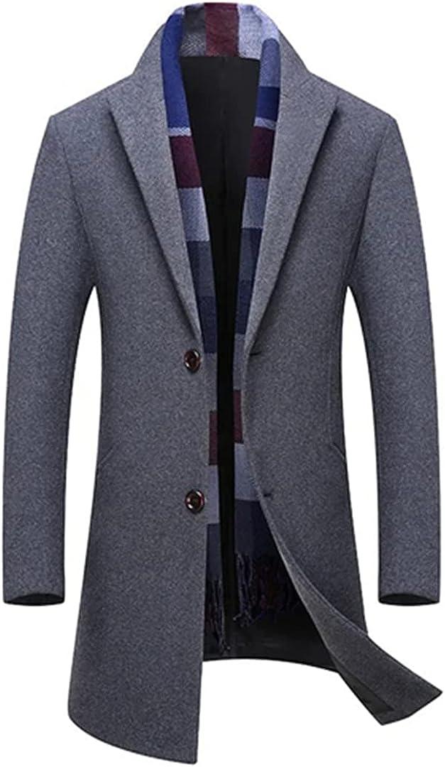 Men Jackets Woolen Coats Turn Collar Luxury Wool Blends Trench Coat Single Breasted Overcoat Warm Clothing
