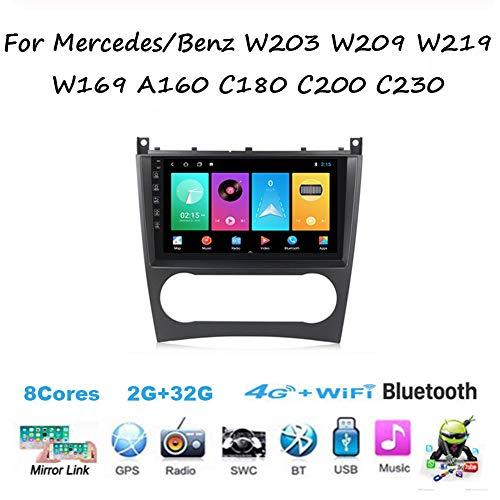 Yuahwyehe DVD Player Auto,Android Autoradio Auto Stereo Für Mercedes/Benz W203 W209 W219,Doppel Din Radio Player Spiegel Link BT Freisprechfunktion Multimedia GPS Navigation Lenkradsteuerung,M200