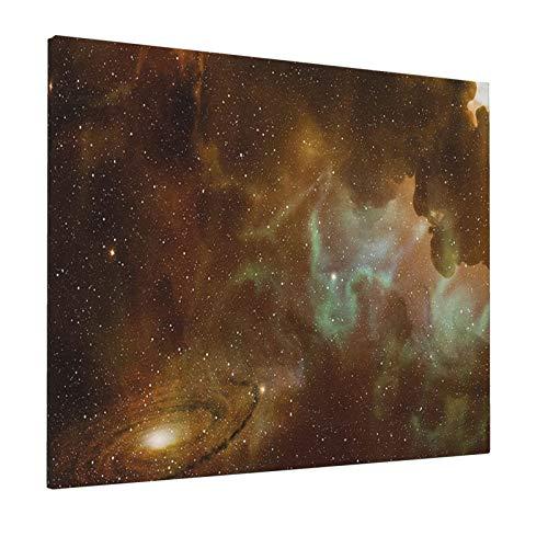 "Hat&C Constellation Dusty Nebula Spiral Galaxy In Billions of Stars Infinity Light Coffee Mint Green Whitepainting 16"" X 20"" Panoramic Canvas Wall Art"