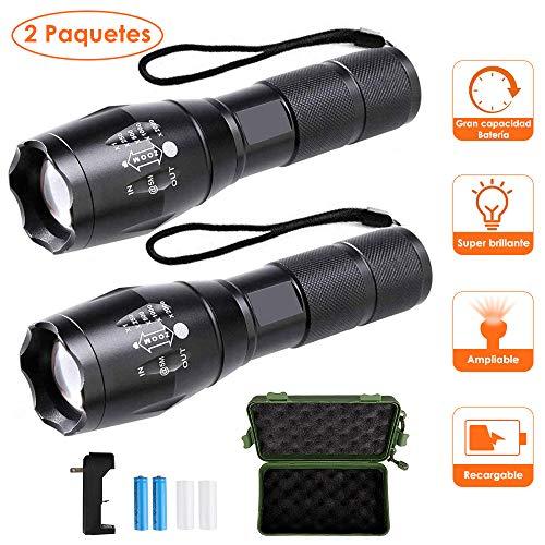 Nasjac Linterna LED Recargable portátil de 1000 lúmenes, foco ajustable / con zoom / 5 modos de luz Linternas portátiles resistentes al agua al aire libre...