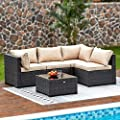 Natural Expressions 5 Piece Wicker Patio Sectional Furniture Sets Rattan Sofa Outdoor,All Weather Conversation Couch with Tempered Glass Coffee Table and Cushions,Garden Poolside,Backyard Porch