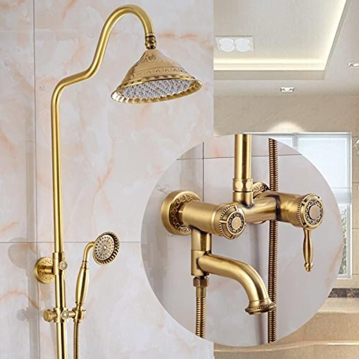 SADASD European Style Bathroom Basin Faucet Copper Antique Shower Faucet Set Double Nozzle redatable With Lifting Ceramic Valve Hot and Cold Mixer Tap Hose