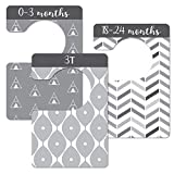8 Piece 0 to 3 Years Baby Boy & Girl Wardrobe Dividers, Black & White Unisex Closet Organisers/Hangers, Nursery Decor & Baby Gift - Arrange Clothes by Clothing Type or Age