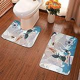 Decoración del hogar Alfombras y moquetas Alfombras de baño Hogar y cocina Rosario to Vampire Bathroom Antiskid Pad Non-Slip Bath Carpet Floor Mat Rug 2 Sets -Floor Mat+U-Shaped Pad, Toilet Washable B