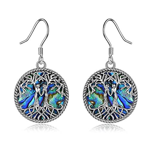 YFN Baum des Lebens Ohrringe für Schwestern Sterling Silber Keltischer Knoten Stammbaum Abalone Muschel baumeln Ohrringe für Freunde Schwester (Multi)