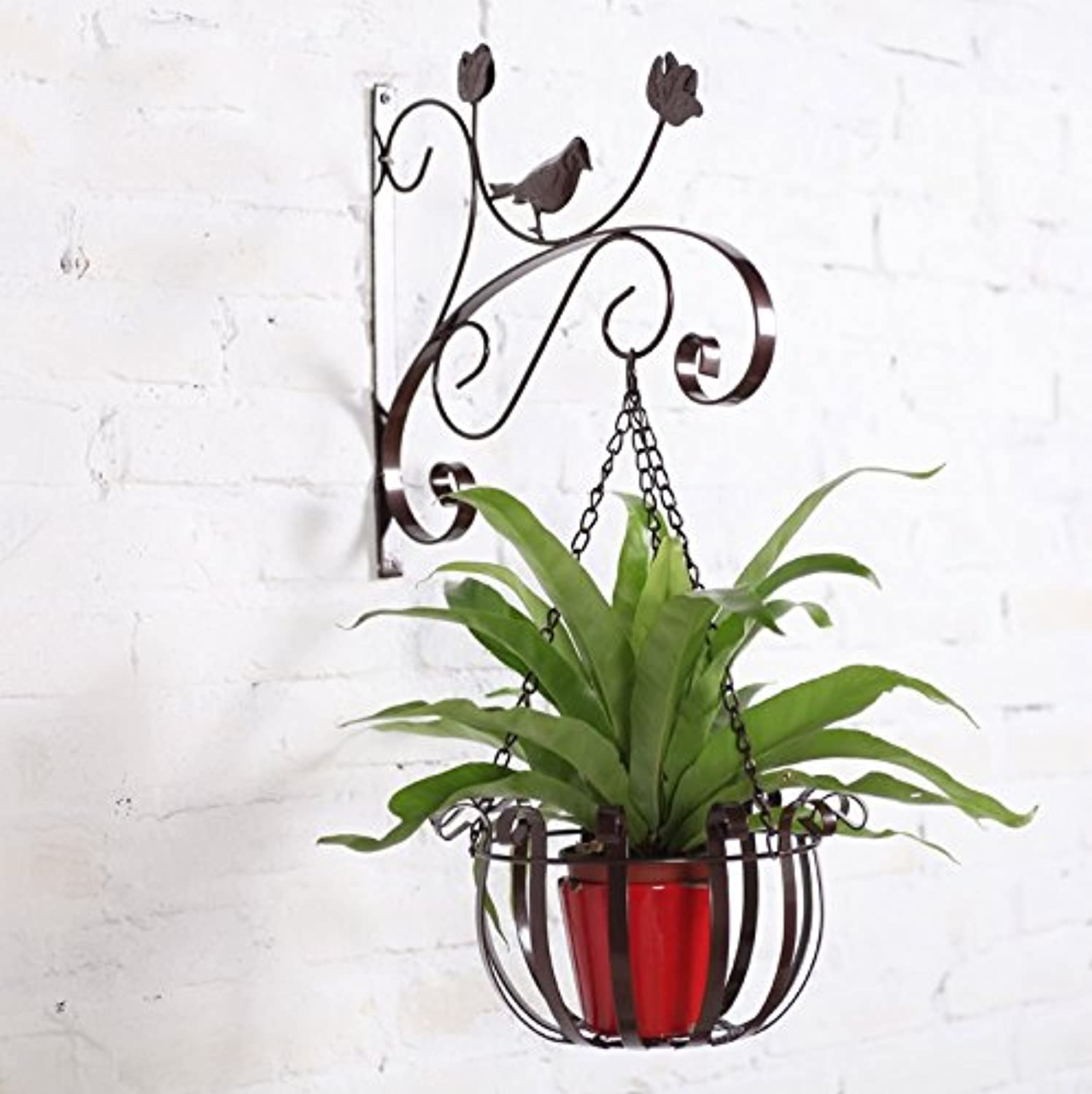 Wall Hanging Flower Rack, Wall Flower Pots, Simple Iron Wall Racks Decorative Frame (color   Brown)