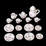 Dcolor 15 Stueck Miniatur Puppenhaus Ess Geschirr Porzellan Tee Set Geschirr Tasse Teller rote...