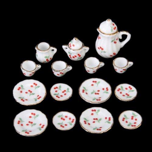 Dcolor 15pcs Ustensiles de The Miniatures en Porcelaine pour Maison de Poupees - Rouge Cerise