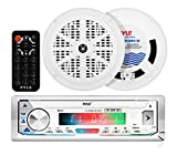 Marine Stereo Receiver Power Amplifier - AM/FM/MP3/USB/AUX/SD Card Reader Marine Stereo Receiver, Single DIN, 30 Preset Memory Stations, LCD Display with Remote Control - Pyle PLMRKT49WT