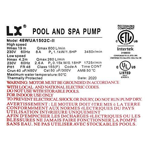 KL KEY LANDER Hot Tub Spa Pump, 2.5HP, Two Speed, 48Frame LX Motor (230V/60Hz); 2
