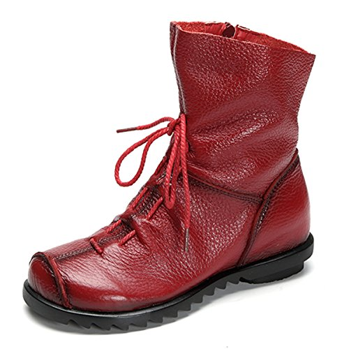 Mujer Cuero Bota, Socofy Botas de Nieve Impermeable Calientes Botines Plano Fur Boots Anti Deslizante Zapatos para Otoño Invierno para Arriba Ate para Arriba