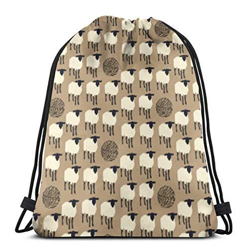 Emonye Sheep Knitting Ball Yarn Barn Farm Black 3D Print Drawstring Backpack Rucksack Shoulder Bags Gym Bag for Adult 16.9