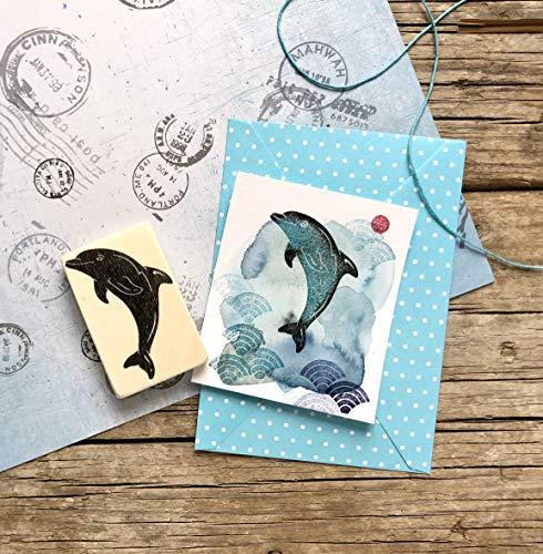 Stempel Delfin, handgeschnitzt, auf Holz montiert, Holzstempel, Kinder-Stempel, Meerestier, Meeressäuger, Delphin