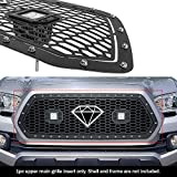 APS Compatible with 2016-2017 Tacoma Main Upper Stainless Steel Black Laser Cut Mesh with Stud Rivets & LED Grille Insert N19-L8536LT