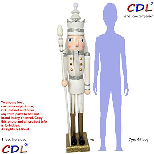 "CDL 48"" 4ft Tall Life-Size Large/Giant White Glitter Christmas Wooden Nutcracker King Ornament on Stand Holds Golden Scepter for Indoor Outdoor Xmas/Event/Ceremonies/Commercial Decoration K30"