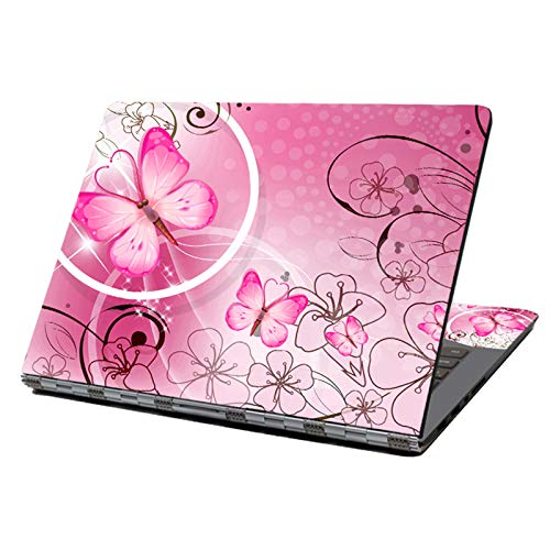 """Laptop Skin Sticker Decal,12"""" 13"""" 13.3"""" 14"""" 15"""" 15.4"""" 15.6"""" Laptop Skin Sticker Protector Cover for Toshiba Hp Samsung Dell Apple Acer Leonovo Sony Asus Laptop Notebook (Pink Butterflies & Flowers)"""