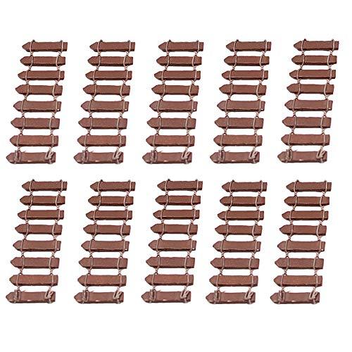 yyuezhi Valla de Madera en MiniaturaListón de la Cerca Bonsai Hada Decoración de Jardín Pequeña Valla de Madera Marrón 10 Unidades en Miniatura Jardín Suite Micro Paisaje Accesorios