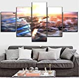 Posters & Prints 5 Pieces Mass Effect Game Normandy Sr-2 Poster Canvas Printed Wall Art Home Decorative (Size 1) with Frames