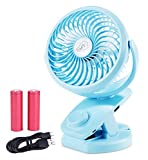 BLUBOON Rechargeable Battery Operated Clip on Fan Desk USB Powered Fan Mini Portable Personal Fan for Baby Stroller, Car, Travel, Office, Outdoor, Camping, Gym, Dorm
