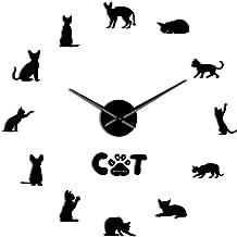 Wall Clock Cat Silhouette Digital Frameless Mirror Surface Wall Sticker Decoration Diy Big Clock Wall Watch