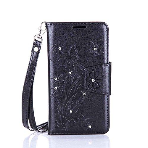 lenovo A2010 Hülle Coozon Flip Hülle mit lebenslanger Garantie Kartenfächern & Standfunktion Cover Wallet fürlenovo A2010 (4,5 Zoll) Schmetterling schwarz