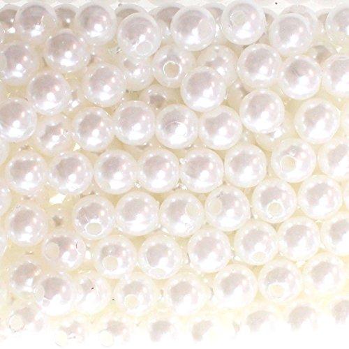 250 x Kunstperle 8mm Perlen  in praktischer Plastikdisplaybox Wachsperlen Dekoperlen Bastelperlen mit Loch, Farbe:weiß