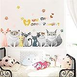 CVG Cartoon Gatti Vivaci Famiglia Zampa Adesivi murali per camerette Decorazioni per la casa Animali in PVC Adesivi murali Arte murale Poster Fai da Te