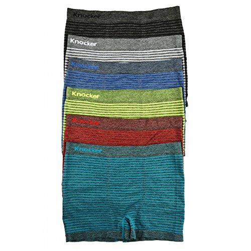 Knocker Men's Seamless Boxer Briefs Underwear Assorted 6 Pack (Free Size, Messy)
