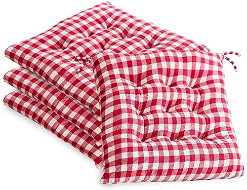 Pad per sedie a quadri di bufalo per sedie da pranzo / cucina cuscini di seduta per patio esterno con cravatte, sedia Set di 4 cuscini da poltrona, 16 x 16 pollici cuscino per sedia a quadri in bianco