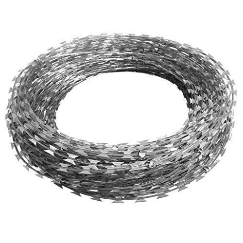 Wakects Stacheldraht Hochwertiger Zaun aus verzinktem Stahl Ziehharmonika-NATO-Draht mit Klemmen Verzinkter Stahl 150 m