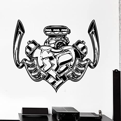 Cool Love Heart Engine Auto Car Moto Servizio di riparazione di motociclette Garage officina meccanica Adesivo da parete in vinile Decal Club Studio Home Decor Mural