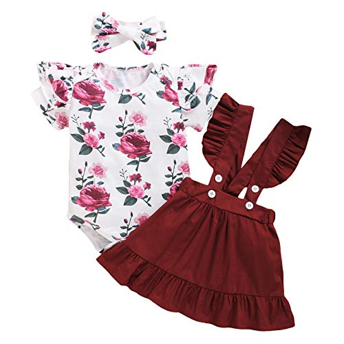 FYMNSI Conjunto de falda y tirantes para bebé recién nacido, de algodón de manga corta, con estampado de flores y cinta para la cabeza, 3 piezas, 0 – 18 meses Vino rojo + impresión de rosa 12-18 Meses
