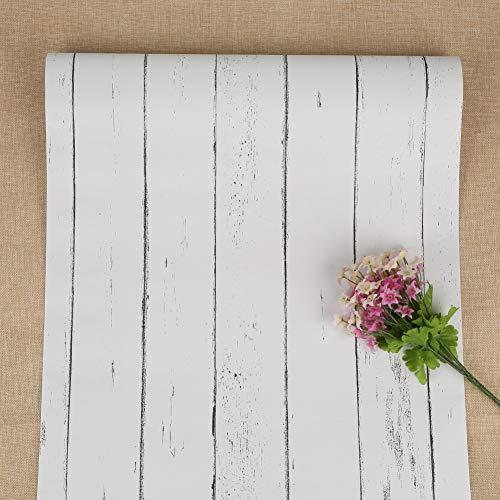 Weiße Tapete Holz Selbstklebende Tapete Holzstreifen Wallpaper Streak Peel und Stick Wallpaper Weißes Kontaktpapier aus Holz Abnehmbare Tapete für Wohnzimmer Schrank Bartheke Küche 45 * 500cm