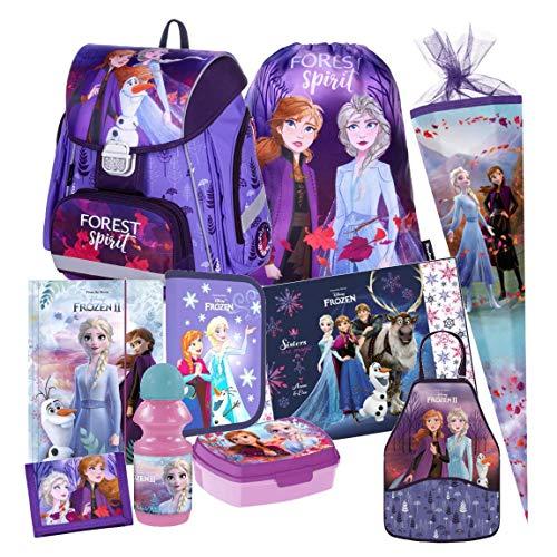 Frozen 2 II Eiskönigin 10 Teile Schulranzen Tornister RANZEN Schulrucksack Rucksack Tasche Set Schultüte 85 cm mit Sticker von kids4shop