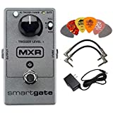MXR M135 Smart Gate Noise Gate Effects Pedal BUNDLE with AC/DC Adapter Power Supply for 9 Volt DC 1000mA, 2 Metal-Ended Guitar Patch Cables AND 6 Dunlop Guitar Picks