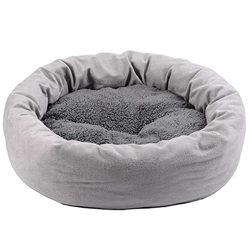 Cama Perro Gato Pequeño Cama Mascota Felpa Sofa Suave Cachorro Animales Domésticos Invierno, Cómoda y Lavable -Fosa Gris Claro_s: 40 de diámetro