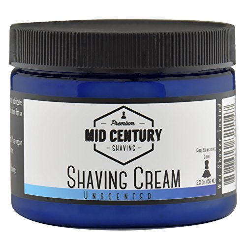 Mid Century Shaving Cream - Unscented - For Creating Shave Lather with a Brush - Soap Based, Vegan - For Sensitive Skin
