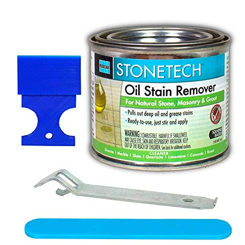 Stone Spot Stain Remover for Marble, Granite or Quartz DYI Kit - 3 Oz StoneTech Oil Stain Remover - 2' Plastic Putty Spatula - 4' Stir Stick and Can Opener