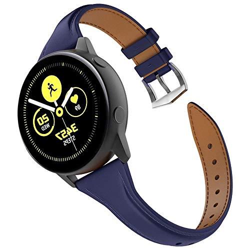Correa de reloj de piel de 20 mm de ancho con hebilla de acero inoxidable para reloj Samsung Galaxy Watch de 42 mm Active 2 de 40 y 44 mm Vivoactive 3 para mujeres (20 mm, azul oscuro)