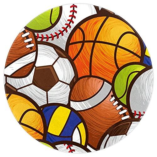 nakw88 Alfombra redonda súper suave para el suelo interior, lujosa, para sala de estar, dormitorio, acolchado, alfombra de juegos impresa, 120 cm, fútbol, baloncesto