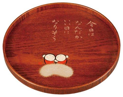 幸せ地蔵 木製 10.0 丸盆 25M12-3